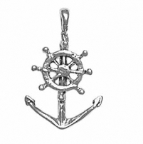 Anchor with Ship's Wheel Charm