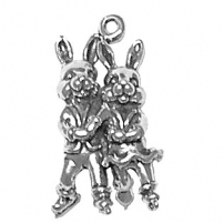 Bunnies Ice Skating Charm