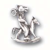 Bear on Rocking Horse Charm