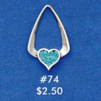 Heart w/ Imitation Turquoise Inlay