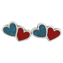 Heart Double, Turquoise Inlay Earrings