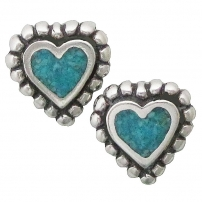 Beaded Heart, Turquoise Inlay Earrings