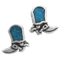 Cowboy Boots, Turquoise Inlay Earrings