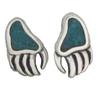Bear Claw, Turquoise Inlay Earrings