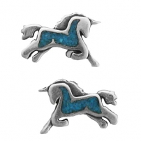 Unicorn, Turquoise Inlay Earrings