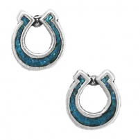 Horseshoe, Turquoise Inlay Earrings