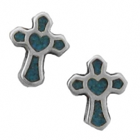 Cross/ Heart Turquoise Inlay Earrings