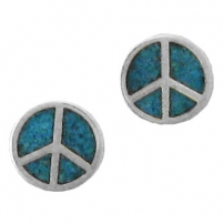Peace Symbol, Turquoise Inlay Earrings