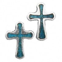 Cross, Turquoise Inlay Earrings