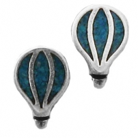 Hot Air Balloon, Turquoise Inlay Earrings