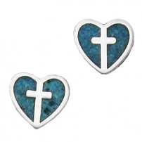 Heart with Cross, Inlay Earrings