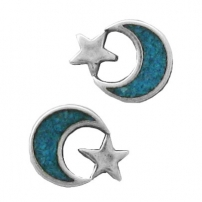 Moon & Star, Turquoise Inlay Earrings