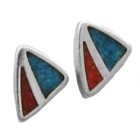 Triangle, Chip Inlay Earrings