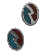 Oval Lightening Bolt, Inlay Earrings