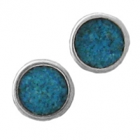 Round, Inlay Earrings