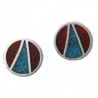 Round with V, Inlay Earrings