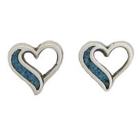 Heart, Turquoise inlay Earrings