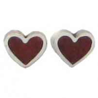 Heart, sm, Red Chip Inlay Earrings