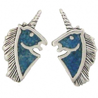Unicorn Head, Turquoise Inlay Earrings